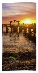 Davis Bay Pier Sunset 4 Bath Towel