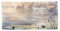 Hand Towel featuring the painting Dawn At Lake Wendouree by Ryn Shell