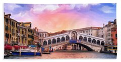 Dawn Light At Rialto Bridge Hand Towel