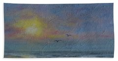 Hand Towel featuring the painting Dawn Mist - Three Gulls by Kathleen McDermott