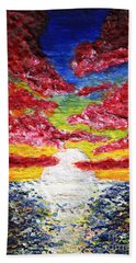 Dawn Of A New Day Seascape Sunrise Painting 141a Hand Towel