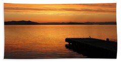 Dawn On The Water At Dusavik Hand Towel