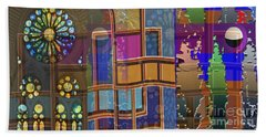 Day And Night Collage Photography Abstract Art From Church Walls Moon Hightide N Graphic Window View Bath Towel