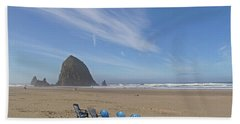 Day At Haystack Rock Hand Towel by Suzy Piatt