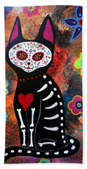 Day Of The Dead Cat El Gato Bath Towel