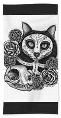 Hand Towel featuring the drawing Day Of The Dead Cat Skull - Sugar Skull Cat by Carrie Hawks