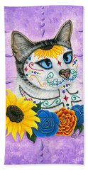 Hand Towel featuring the painting Day Of The Dead Cat Sunflowers - Sugar Skull Cat by Carrie Hawks
