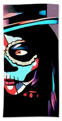 Day Of The Dead Skull Woman Wearing Top Hat Hand Towel