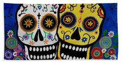 Hand Towel featuring the painting Day Of The Dead Sugar by Pristine Cartera Turkus