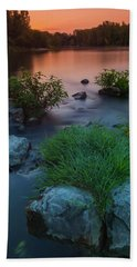 Daybreak Over The Old Riverbed Hand Towel