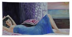 Hand Towel featuring the painting Daydreaming by Lyric Lucas