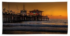 Daylight Turns Golden On The Pier Hand Towel