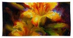 Daylily Sunshine - Colorful Tiger Lily/orange Day-lily Floral Still Life  Bath Towel
