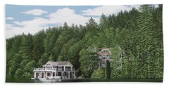 Hand Towel featuring the painting De Groote Summer Home Muskoka by Kenneth M Kirsch