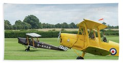 Bath Towel featuring the photograph De Havilland Tiger Moths Taxiing by Gary Eason