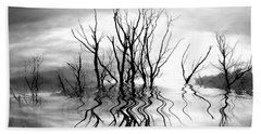 Bath Towel featuring the photograph Dead Trees Bw by Susan Kinney