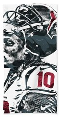 Hand Towel featuring the mixed media Deandre Hopkins Houston Texans Pixel Art 2 by Joe Hamilton