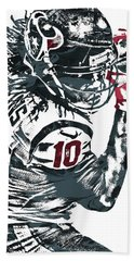 Hand Towel featuring the mixed media Deandre Hopkins Houston Texans Pixel Art by Joe Hamilton