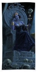 Bath Towel featuring the digital art Death Queen On Throne With Skulls by Martin Davey