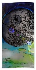 Bath Towel featuring the drawing Deathstar Illustration by Justin Moore