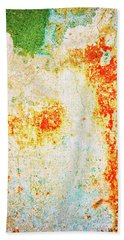 Hand Towel featuring the photograph Decayed Wall With Orange Paint by Silvia Ganora
