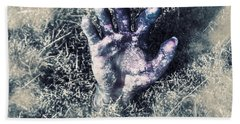 Decaying Zombie Hand Emerging From Ground Bath Towel