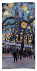 Hand Towel featuring the painting December Lights At The Our Lady Square Maastricht 1 by Nop Briex