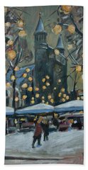 Hand Towel featuring the painting December Lights At The Our Lady Square Maastricht 2 by Nop Briex