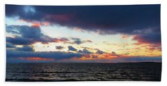 December Sunset, Wolfe Island, Ca. View From Tibbetts Point Lighthouse Bath Towel