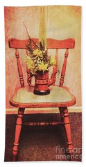 Decorated Flower Bunch On Old Wooden Chair Bath Towel