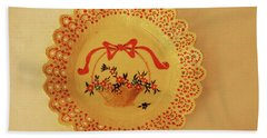 Decorated Plate With A Basket And Flowers Hand Towel