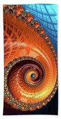 Bath Towel featuring the digital art Decorative Fractal Spiral Orange Coral Blue by Matthias Hauser