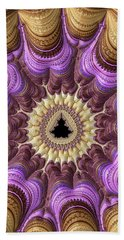 Decorative Luxe Mandelbrot Fractal Purple Gold Bath Towel by Matthias Hauser