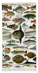 Decorative Print Of Poissons By Demoulin Bath Towel