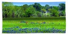 Decorative Texas Homestead Bluebonnets Meadow Mixed Media Photo H32517 Bath Towel