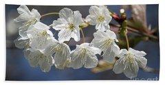 Deep Blue  Cherry Blossom Hand Towel