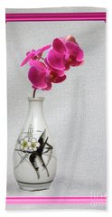 Hand Towel featuring the photograph Deep Pink  Orchids by Linda Phelps