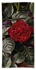 Deep Red Rose Hand Towel