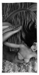 Deep Sea Mermaid - Black And White Fantasy Art Hand Towel
