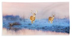 Deer At Winter Pond Hand Towel