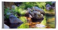 Deer Creek Ferns - White Text Bath Towel