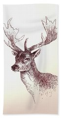 Deer In Ink Bath Towel