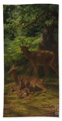 Deer In Repose Bath Towel