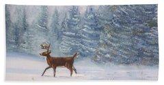 Deer In The Snow Hand Towel
