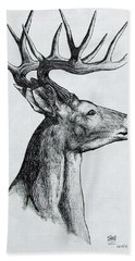 Hand Towel featuring the drawing Deer by Michael  TMAD Finney