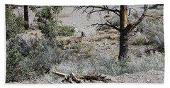 One Deer On A Dry Mountain Bath Towel