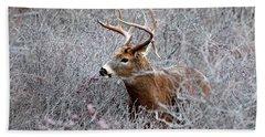 Deer On A Frosty Morning  Bath Towel by Nancy Landry