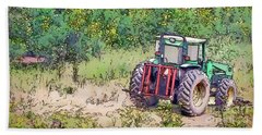 Bath Towel featuring the photograph Deere In The Wildflowers - Line And Ink Art by Kerri Farley