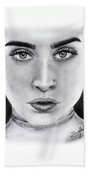Lauren Jauregui Drawing By Sofia Furniel  Bath Towel