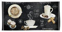 Deja Brew Chalkboard Coffee Cappuccino Mocha Caffe Latte Bath Towel by Audrey Jeanne Roberts
